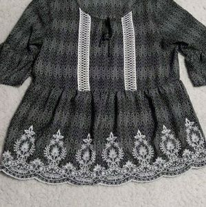Maurices Black and White Print Flowy Top
